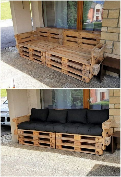 What Can You Make with Wood Pallets? Easy Projects You will probably be finding this creation of wood pallet so eye-catching and peacefully attractive looking. Well, this creation is dedicatedly designed in the artistic. Wood Pallet Couch, Wood Pallet Furniture, Diy Pallet Furniture, Furniture Projects, Wood Pallets, Rustic Furniture, Furniture Layout, Furniture Design, Pallet Furniture Outdoor Couch