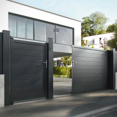 Portillon Aluminium Jardimat Alpes Noir Volcan 100 X H 160 Cm En 2020 Portail Aluminium Portail Portillon Et Portail Maison