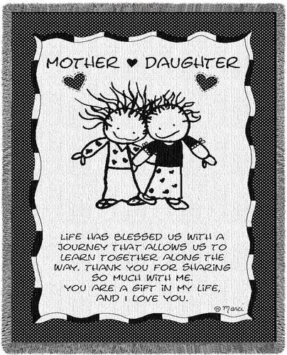 Personalized Mother Daughter Inspirational Tapestry Throw