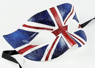 Union Jack UK Flag Mask Masquerade Costume Fancy Dress Ball England Unisex Royal