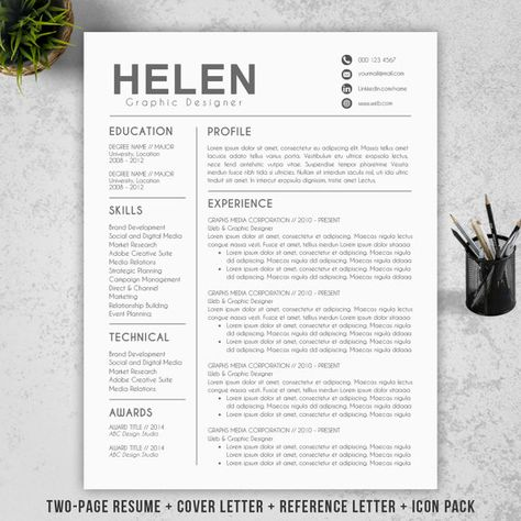 Resume Template, 2 Page Resume, CV Template + Cover Letter for MS - two page resume