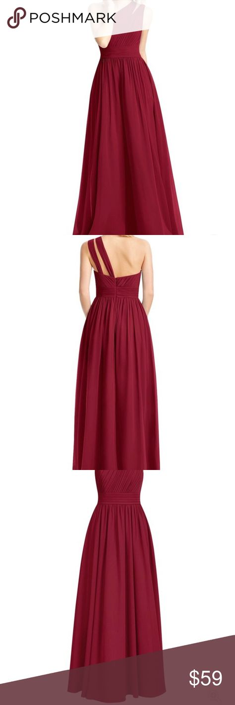 132655cba4 Azazie Molly Burgundy Bridesmaid Dress WORN ONCE!! One shoulder dress  features a back zip