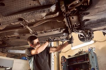 Repairman Fixing Car In Garage Experienced Specialist Car Mechanic Standing Under Lifted Car During Repair And M Repair And Maintenance Car Mechanic Repairman
