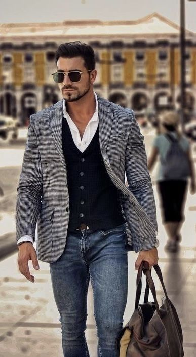 Spring and Fall men's fashion layering - sweater vest, wool jacket, white Ox. Spring and Fall men's fashion layering - sweater vest, wool jacket, white Oxford shirt with jeans - Mens hairsty Smart Casual Outfit, Smart Casual Man, Smart Casual Menswear, Stylish Casual Outfits For Men, Casual Clothes, Mens Smart Casual Fashion, Men Style Casual, Casual Sport Coats, Smart Men