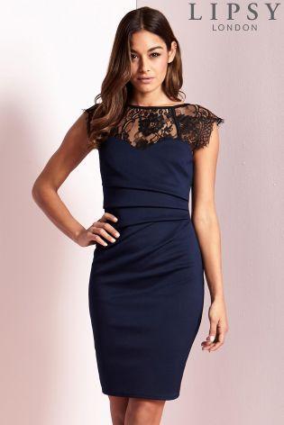1bd4b4763e0 Buy Lipsy Eyelash Lace Sweetheart Contrast Bodycon Dress from Next ...