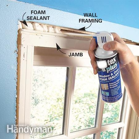 Sealing behind window trim with low or no expanding foam