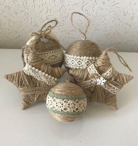 Ensemble de 5 ornements de ficelle pour la décoration rustique de Noel Décoration de Noel Maison de Noel cadeau maison d'ornement d'étoile Ferme de noel de maison de Noel