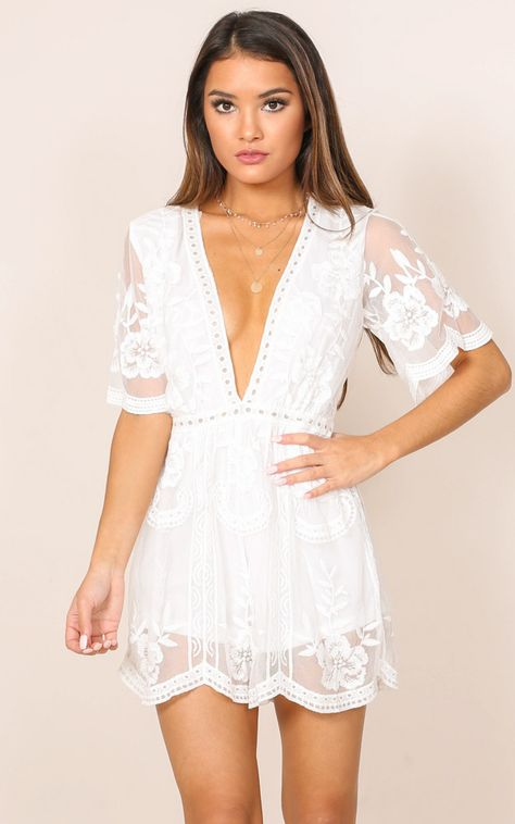 d399a0b16885 Face The Music Playsuit In White Lace Produced in 2019