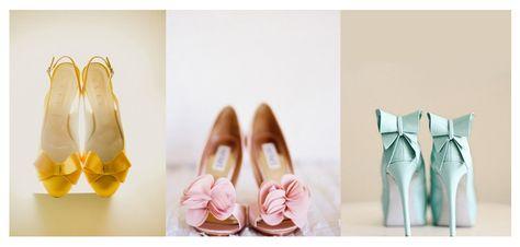 Zapatos de novia de color: rosa, amarillo, menta. #boda