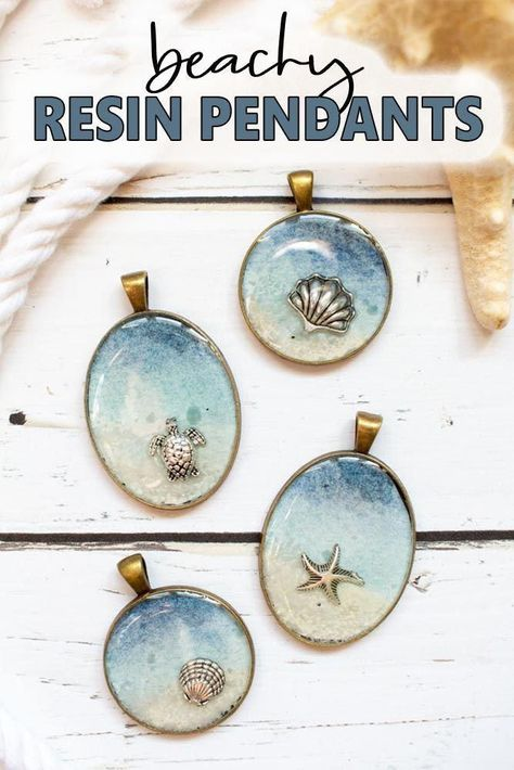 Make a beachy resin pendant and carry a little bit of summer with you all through the year. This post shows you how to make this simple seashore resin jewelry idea with DIY step-by-step tutorial. diy jewelry making DIY Seashore Resin Jewelry