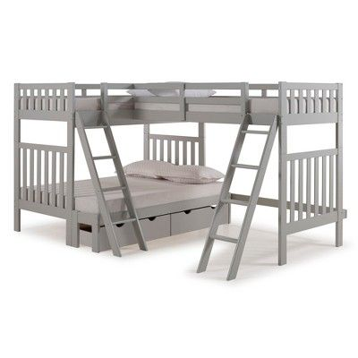 Twin Over Full Aurora Bunk Bed With Tri Bunk Extension And Storage