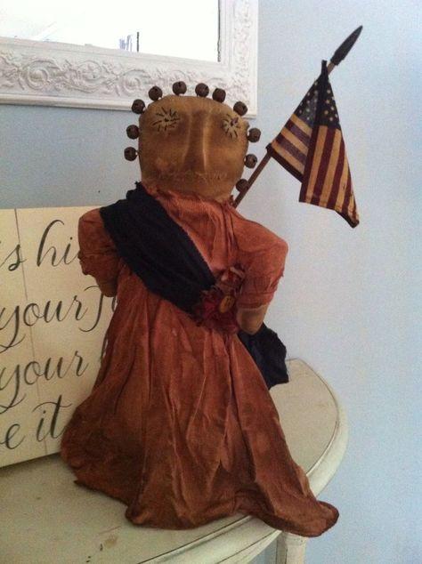 Primitive Americana Folk ARt Liberty Doll Russty bells grungy Make do makedo #NaivePrimitive