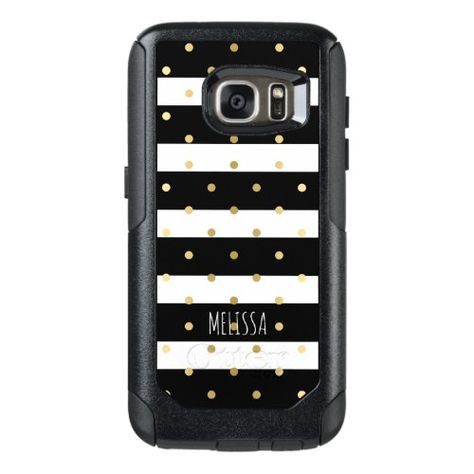 Black & White Stripes With Gold Polka-dots Pattern OtterBox Samsung Galaxy S7 Case