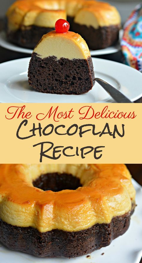 Chocoflan recipe - Find out how to make Chocoflan, which combines the creaminess of flan with the richness of chocolate cake for an allinone dessert that you will love This method is different from the traditional me Mexican Dessert Recipes, Filipino Desserts, Cuban Recipes, Mexican Flan, Mexican Tamales, Pinoy Dessert, Steak Recipes, Dinner Recipes, Food Cakes