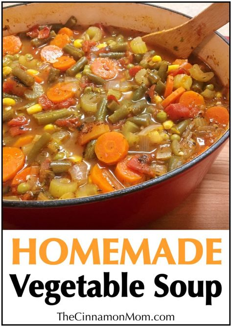 homemade vegetable soup recipe, easy family dinner, dinner recipe This recipe is FULL of vegetables and warms your tummy right up! Slice up a fresh baguette to go with your soup and you've got a perfect cold weather meal that your family will love! Crock Pot Recipes, Easy Soup Recipes, Healthy Recipes, Vegetarian Recipes, Dinner Recipes, Cooking Recipes, Healthy Soup Recipes, Homemade Vegetable Soups, Vegetable Soup Recipes