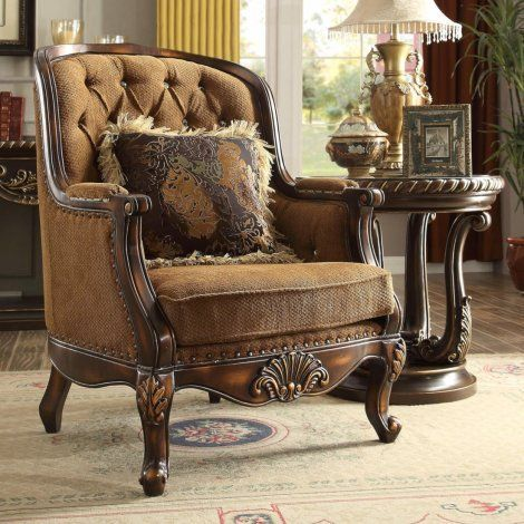 Traditional Luxury Royal Hd 9344 Chair In Brown By Homey Design In 2020 Sofa Design Home Decor Farm House Living Room
