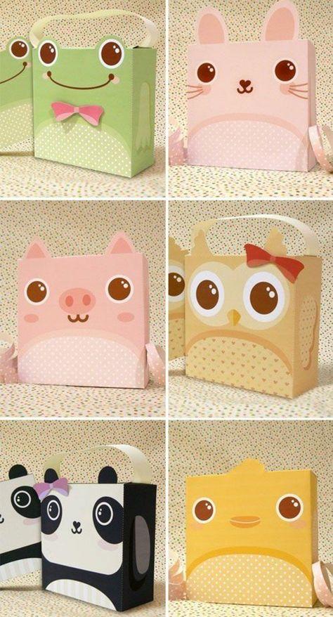 origami boite rectangulaire, idée comment faire une boite en papier enfant, animaux différents
