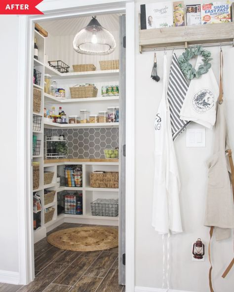Kelsey and Ryan wanted to make sure that the ample square footage in their walk-in pantry didn't go to waste, so they ripped out the wire shelves and created something that worked much better for them — and looked better, too. #beforeandafter