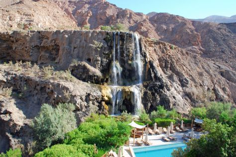 Hammamat Ma'in  Jordan's Dead Sea is a must-see, and close by are several thermal springs, the most famous of which is Hammamat Ma'in.  Water tumbles down the hillside and collects in pools for public bathing.