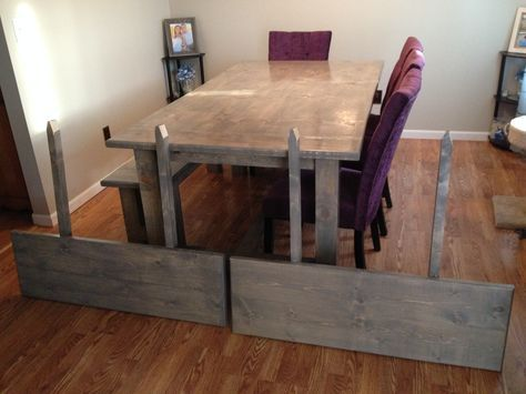 Ana White Farmhouse Table Table Extension And Bench Diy Projects Like This Idea No Slider White Farmhouse Table Farmhouse Table Plans Table Extension