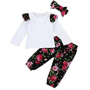 UK Toddler Baby Girls Autumn Clothes Floral Tops+Pants+Headband 3Pcs Outfits Set