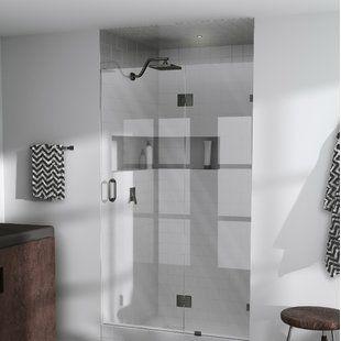 Basco Vinesse 57 W X 76 H Single Sliding Semi Frameless Shower Door Wayfair Shower Doors Semi Frameless Shower Doors Tub Doors