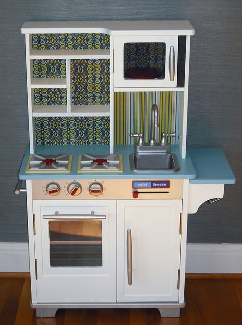 Purchased play kitchen makeover. It doesn't have to be 100% DIY to be unique