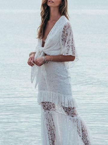 Lace Split Joint Bandage Maxi Dress In 2020 Kleider Mode Und Brautkleid
