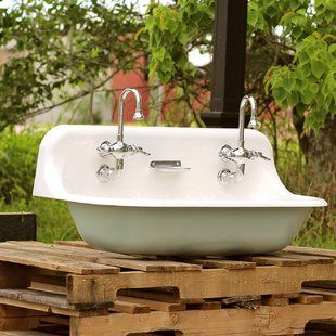 Kohler Brockway Farm Cast Iron Porcelain Trough Sink Package Wayfair Cast Iron Farmhouse Sink Farm Sink Kohler Farm Sink