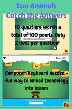 Zoo Animals Catch the Answer Game Grade 2-5   Awesome TpT