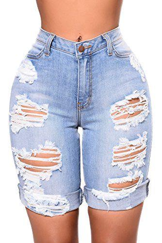 9bb4f9c6bba9 Nicetage Women¡¯s Ripped Short Jeans Mid Rise Bermuda Shorts Stretchy  Destroyed Midi Denim Shorts