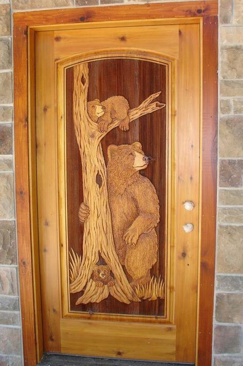 Mama Bear Wood Carved Door