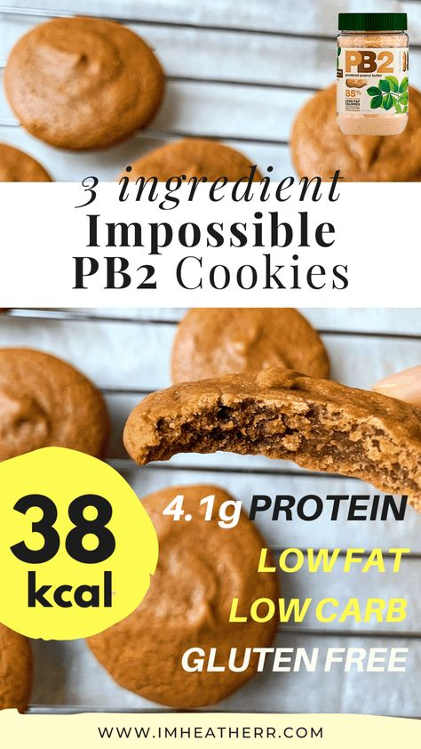 Flourless, low fat, low carb AND only 38 calories. These gluten-free cookies are perfect for satisfying any peanut butter lover's cravings! Protein Desserts, Protein Snacks, Desserts Pauvres En Calories, Low Fat Snacks, Low Calorie Desserts, No Calorie Snacks, Low Calorie Recipes, Healthy Dessert Recipes, Healthy Baking