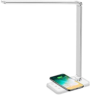 Multifunctional Led Desk Lamp With Wireless Charger Usb Charging Port 5 Lighting Modes 5 Brightness Levels Sensi Led Desk Lamp Office Lamp Wireless Charger