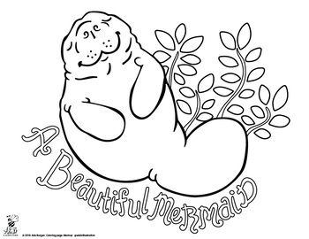 Animal Mermaid Coloring Page Pack 6 Different Pages Mermaid