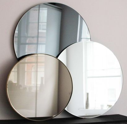 Medium Silver Orbis Round Frameless Mirror By Alguacil Perkoff