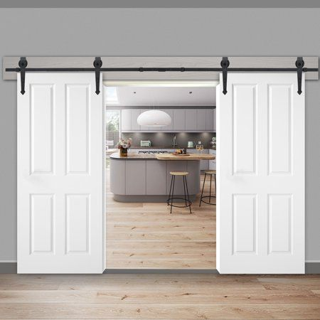 Zeny 12ft Double Door Sliding Barn Door Hardware Kit Smoothly And Quietly Easy To Install Garage Door Design Sliding Barn Door Hardware Interior Barn Doors