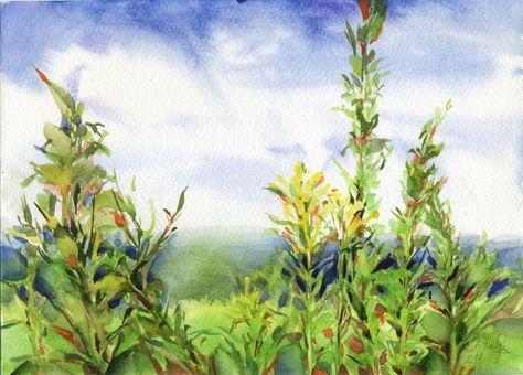 Peinture Aquarelle Herbe Peinture De Paysage Par Olgasternyk