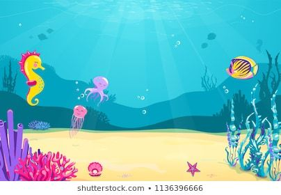 Underwater Cartoon Background With Fish Sand Seaweed Pearl Jellyfish Coral Starfish Octopus Sea Cartoon Background Underwater Cartoon Flower Frame Png