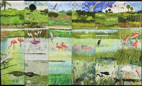 """Everglades"" landscape quilt by Cindy Loos, Karen Mabee, Linda Johnson, Toni Kring ... NQA 2013 Quilt Show Winners"