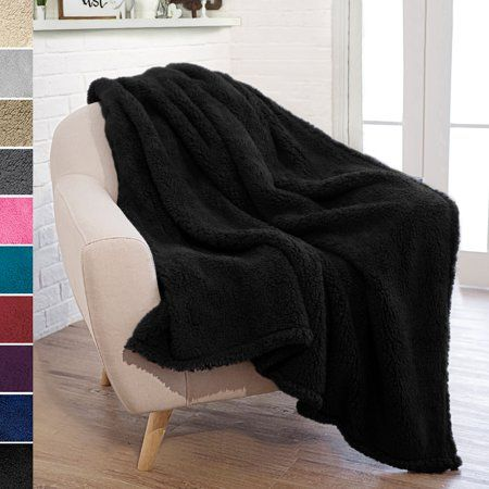 Pavilia Plush Sherpa Throw Blanket For Couch Sofa Fluffy Microfiber Fleece Throw Soft Fuzzy Cozy Lightweight Solid Black Blanket 50 X 60 Inches Wal In 2020 Black Blanket Sherpa Throw Blankets Fleece Throw Blanket