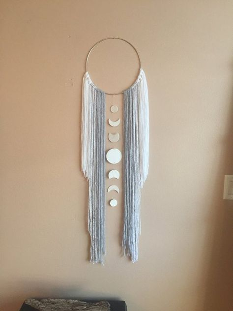 Moon Phase Dreamcatcher Wall Hanging Decor Moon Child Boho Bohemian Modern Simple Gift Idea Grey Gra