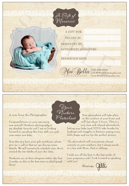 Photographer Photography Gift Certificate Template  Gift