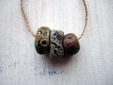 3 Hand Painted Artisan Boho Porcelain Clay Pottery Beads No.65