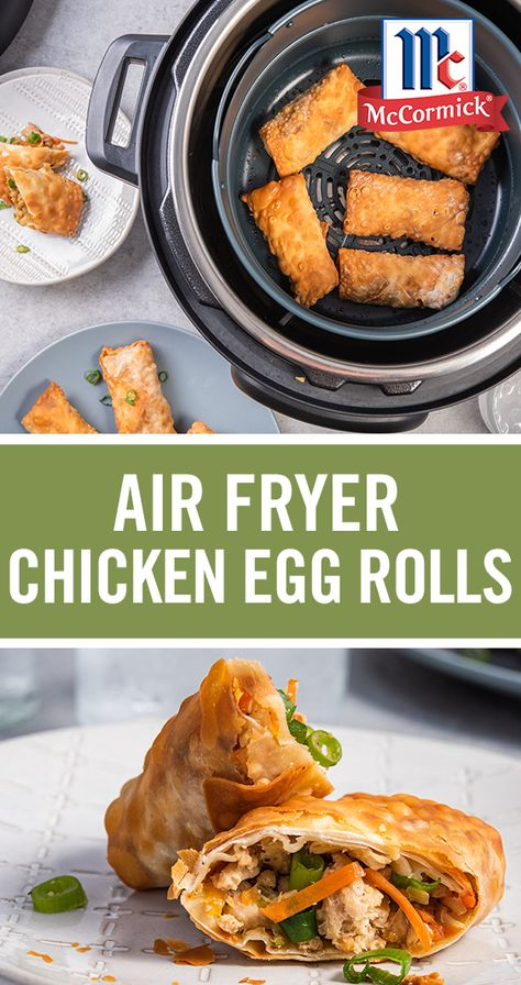 No need for takeout- Air Fryer Chicken Egg Rolls are an easy dinner or appetizer idea to try out in your air fryer. Substitute ground pork or turkey in place of ground chicken to make a few different egg roll varieties. We're totally obsessed with this ki Air Frier Recipes, Air Fryer Oven Recipes, Air Fryer Dinner Recipes, Appetizer Recipes, Appetizers, Chicken Egg Rolls, Pork Egg Rolls, Egg Roll Recipes, Ninja Recipes