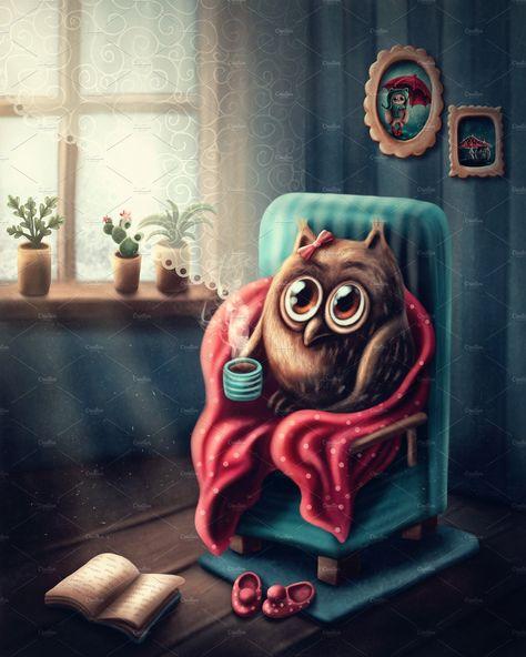 Little owl drinking koffee by Elena Schweitzer on @creativemarket