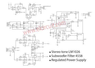 2 1 Hifi Preamplifier Lm1036 Subwoofer Filter 4558 Subwoofer Subwoofer Amplifier Electronics Circuit
