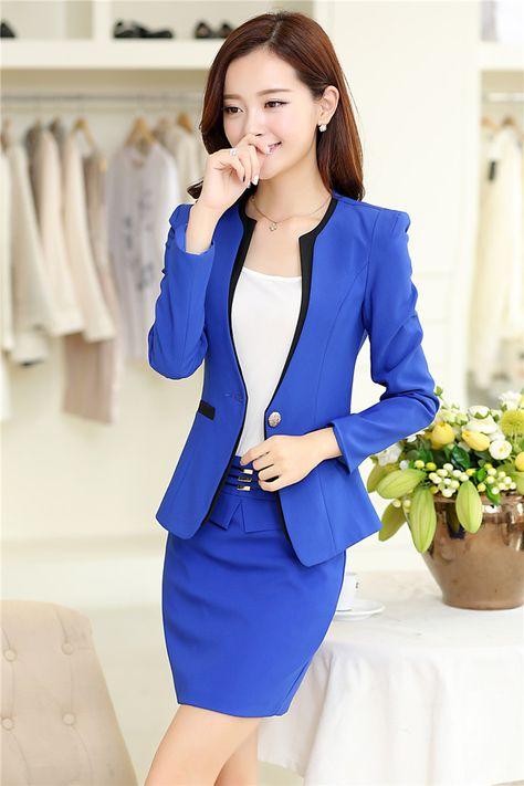 343d37aee8 2015 New Arrival Plus Size 4XL Autumn Winter Formal Office Uniform Design  Women Business Suits With Skirt Blazer Sets Work Wear
