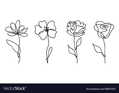 Line Art Flowers, Flower Line Drawings, Botanical Line Drawing, Line Flower, Flower Sketches, Hand Drawn Flowers, Drawing Flowers, Abstract Flower Tattoos, Abstract Flowers