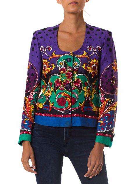 1980s Gianni Versace Linen Printed Jacket